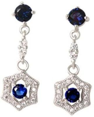 TUAN Designer Dangle Diamond, Cubic Zirconia, Sapphire Sterling Silver Drop Earring