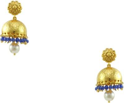 Orniza Rajwadi Earrings in Blue Color and High Gold Polish Brass Jhumki Earring