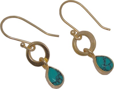 Arvino Green Turquoise Brass Drop Earring