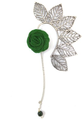 Ammvi Multi Leaves With Green Rose Charm Alloy Cuff Earring
