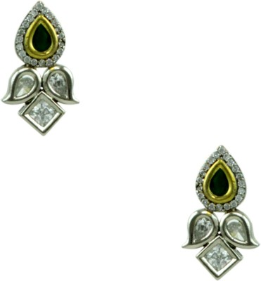 Orniza Victorian Earrings in Emerald Color and Rhodium Polish Brass Dangle Earring