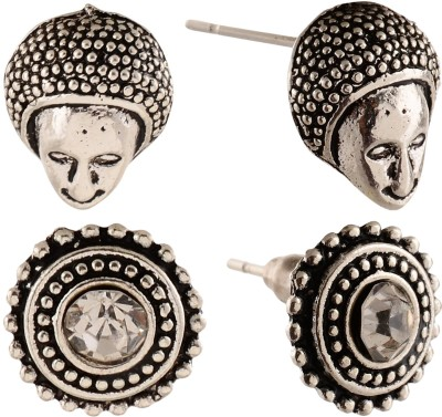 Anokhi Ada Rhinestone Studded Dot Circle and Human Faced Metal Stud Earring