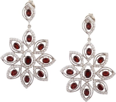 RR FOREVER Gemstone Garnet Silver Drop Earring
