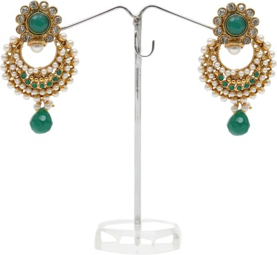 Kashvi Spring Sparkle Pearl, Agate Brass Chandbali Earring
