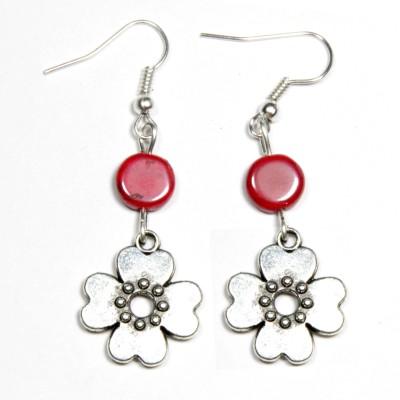 Karukala Met Flower Red Alloy, Glass Dangle Earring