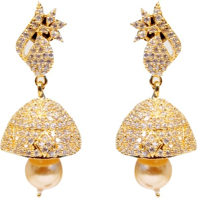 Darls Pearl Fashion Cubic Zirconia Alloy, Copper Jhumki Earring