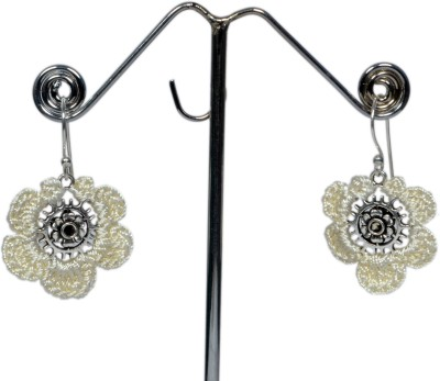 Angelfish Designer Thread Work With German Silver Finding Metal Dangle Earring