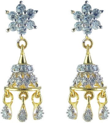 YUVEN Drop Zircon Brass, Alloy Jhumki Earring