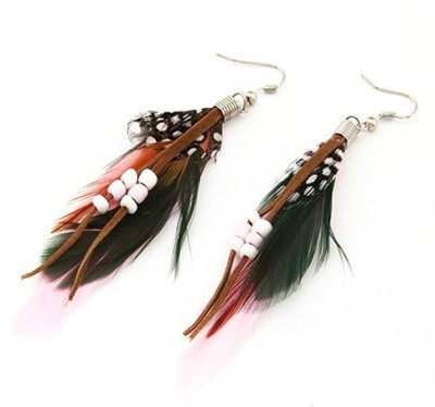 Cilver Fashion Trendy Feather And Beads Alloy Dangle Earring