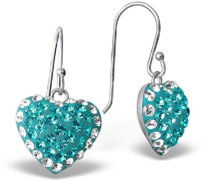 Maayin Heart With Border Crystal Sterling Silver Dangle Earring