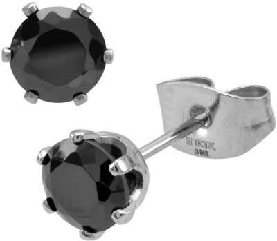 Inox Jewelry 5mm Classic Cubic Zirconia Stainless Steel Stud Earring