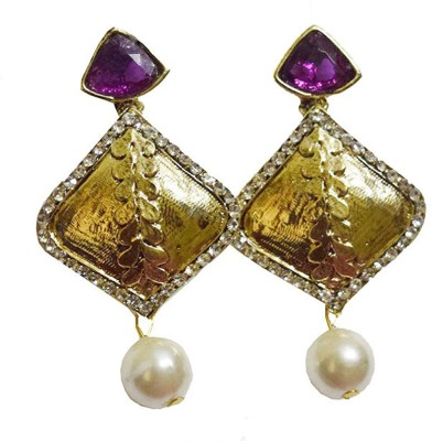 Mrinalini Purple and Pearl Drop Alloy Drop Earring