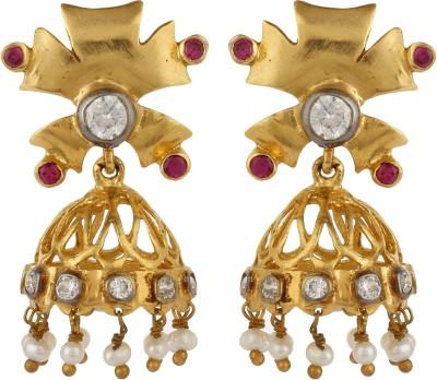 Dilan Jewels Golden Delicate Zircon Silver Jhumki Earring