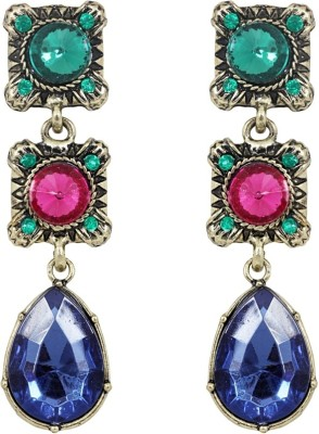 Amroha Crafts Tri Color Alloy Drop Earring
