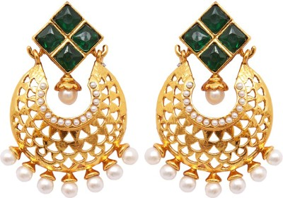 Ratnakar Chand bali style gold carving with green colour Alloy Stud Earring