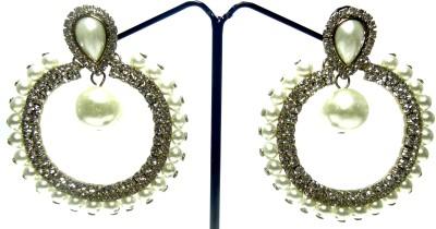 Kaass Big white round Pearl, Crystal Alloy Chandbali Earring