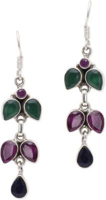 Watch Me Tripple Cascading Branch- Multi Bright Ruby, Emerald, Sapphire Sterling Silver Dangle Earring