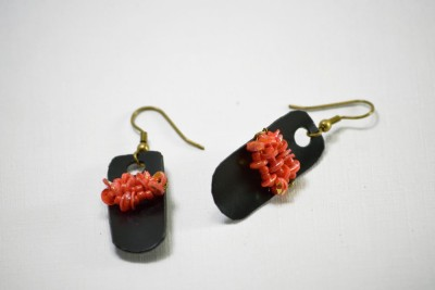 Ba No Batwo Orange Sequenced Earrings Metal, Plastic Dangle Earring