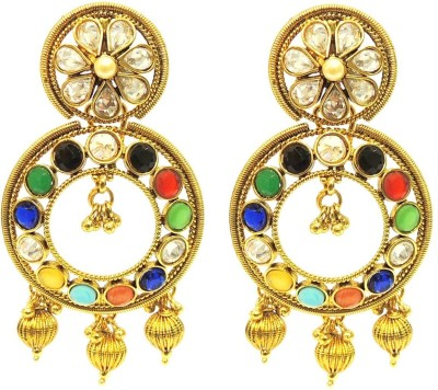Satyam Jewellery Nx Antique Colourful Artificial Jewellery Pearl Copper Drop Earring