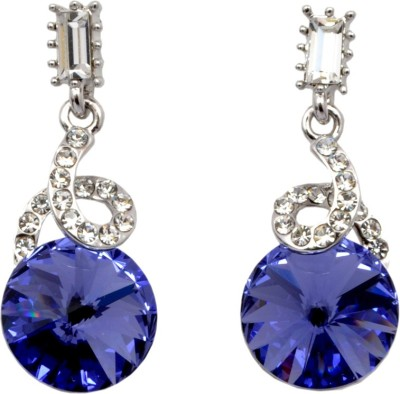 Royal Silver and Blue Hoop Swarovski Crystal Alloy Dangle Earring