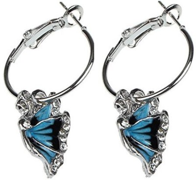 Girlz! Blue Crystal Rhinestone Enamel Butterfly Dangle Hoop Alloy, Crystal Hoop Earring