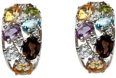 LeCalla Multi Color Stone Modern Classy Sterling Silver Hoop Earring