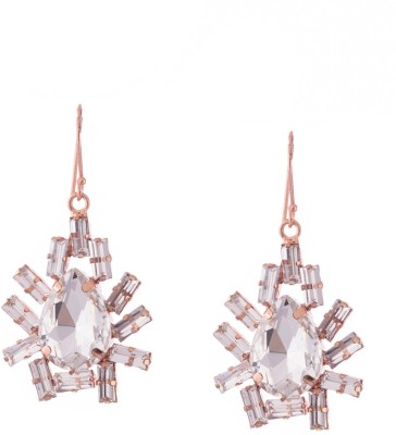 Trinketbag White and rose gold glass cut Alloy, Glass Dangle Earring