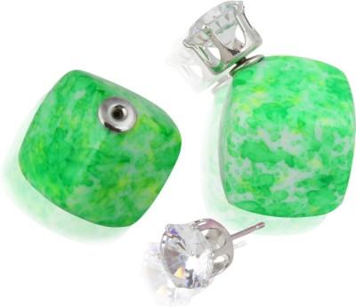 Eve's Wardrobe Minty Green Zircon Metal Stud Earring