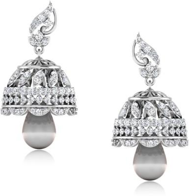 IskiUski Demira White Gold 14kt Swarovski Crystal Jhumki Earring(Platinum Plated) at flipkart