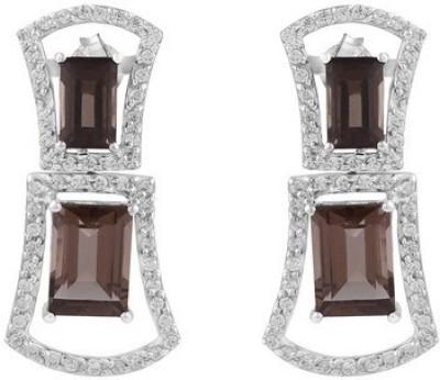 VelvetCase 925 Silver Earrings with Quartz Gemstone Topaz Silver Hoop Earring