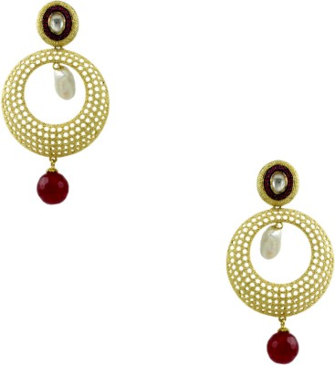 Orniza Boutique Earrings in Ruby Color and Matt Gold Polish Brass Chandbali Earring