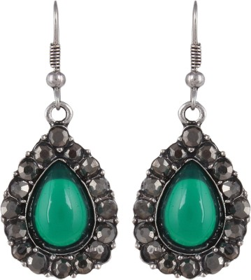 Anamis Antique look pan shape with stones, green colour -Traditional cum fashionable AMFJEP009 Aluminum Dangle Earring