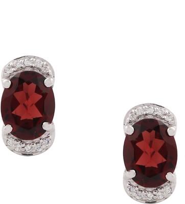 RR FOREVER Gemstone Garnet Silver Stud Earring