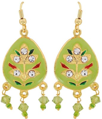 Maayra Fabulous Meenakari Crystal Brass Dangle Earring