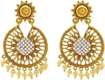Ishaani Love Forever Cubic Zirconia Copper Chandbali Earring