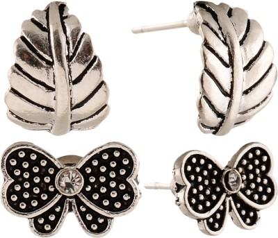 Anokhi Ada Butterfly and Leaf Metal Stud Earring