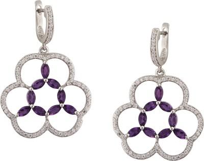 RR FOREVER Gemstone Amethyst Silver Huggie Earring