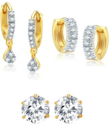 Enzy Dailywear Gold Plated American Diamond - Set of 3 Pairs Alloy Earring Set