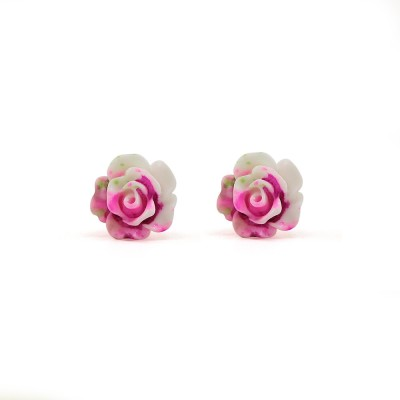 Silverstoli Glorious Colorful Pink White Rose Ceramic Stud Earring
