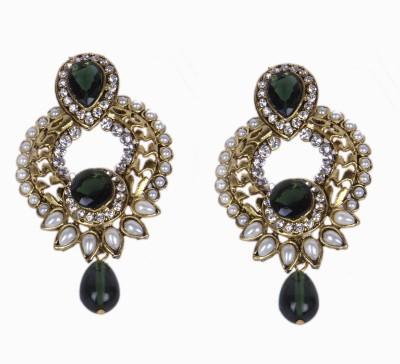 Special U Green Sparkle Brass Chandbali Earring