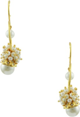 Orniza Rajwadi Earrings in Pearl Color and Golden Polish Brass Hoop Earring