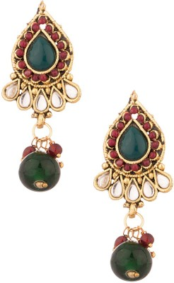 Voylla Artificial Classic Textured Crystal Alloy Dangle Earring