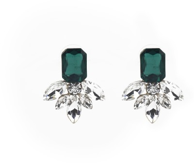 Jewelfin White With green Stone Alloy Stud Earring