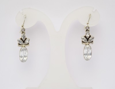 MJ White Stone Silver Dangle Earring