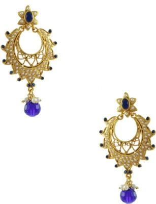 Orniza Rajwadi Earrings in Blue Color and Golden Polish Brass Chandbali Earring