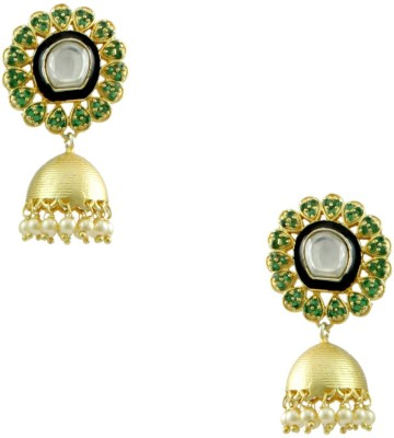 Orniza Boutique Earrings in Emerald Color and Matt Gold Polish Brass Jhumki Earring
