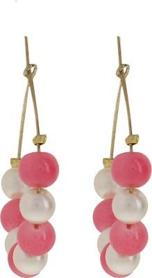 Niara Pearl and Pink Beads Metal Hoop Earring