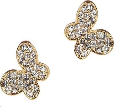 Golden Petals Butterfly Sparkle Cubic Zirconia Alloy Stud Earring