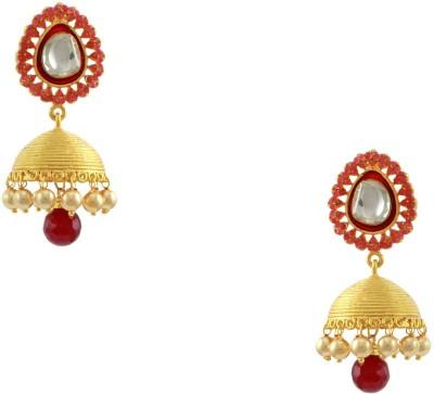 Orniza Rajwadi Jhumki Earrings in Ruby Color and Golden Brass Jhumki Earring