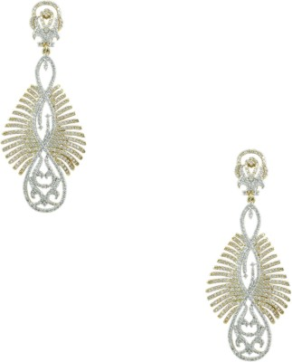 Orniza CZ Diamond Earrings in Clear Color and Two Tone Polish Brass Dangle Earring